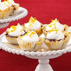 Chocolate Butterscotch Tartlets Recipe -Tartlets are like cake pops—tiny and tasty, and a tempting way to experiment with different fillings. But this prizewinning combo is too good to toy with. —Jennifer Larison, Tucson, Arizona