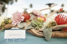 Beachy table decor + name cards | Catalina Island Wedding | MoHa Photography