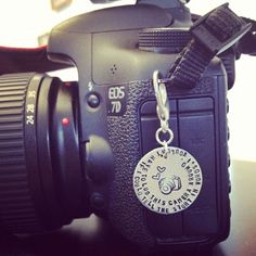"Hand Stamped ""If I could tell the story in words"" Photography Lover's Camera Bauble. $16.00, via Etsy."