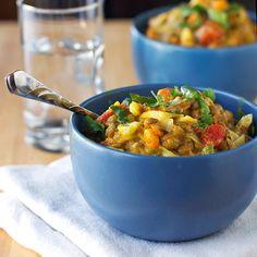Creamy Thai Sweet Potatoes and Lentils - Trop de bouillon dans la recette originale... laisser évaporer ou mettre 1 tasse de moins.