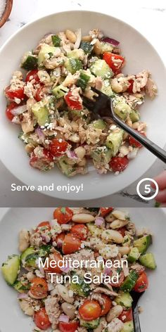 This hearty, fresh salad is packed with protein and fiber to keep you full all afternoon. It holds up well in the fridge, so it's perfect for your workweek lunch meal prep! Veggie Recipes, Lunch Recipes, Salad Recipes, Cooking Recipes, Healthy Recipes, Veggie Meals, Mediterranean Tuna Salad, Healthy Eating, Healthy Food