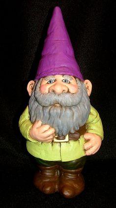 Gnome Standing Wearing Green Jacket Purple Hat by LeviLadyCeramics, $26.95