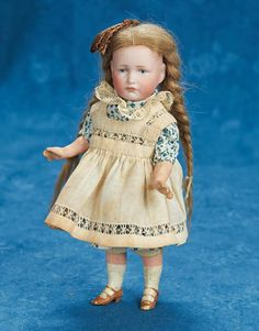 "7"" (18 cm.) German bisque pouty character, 114 ""Gretchen"" by K*R"