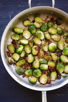 Garlic-Prosciutto Brussels Sprouts - roasted brussels sprouts with smoky proscuitto. Saute on skillet and finsih in oven, 20 mins only.