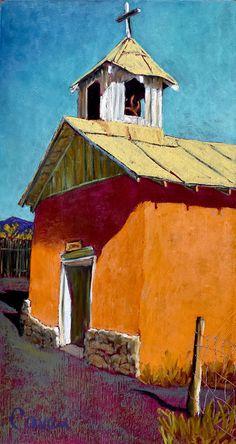 Pastel Landscape, Landscape Paintings, Restaurant Mexicano, Desert Drawing, Oil Pastel Techniques, New Mexico History, Mexican Paintings, Urban Painting, Building Painting