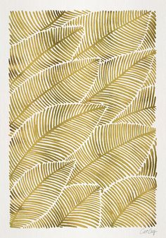 Tropical Gold Leaves by Cat Coquillette (society6)