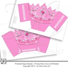 Princess Birthday Party Ideas - Pink Princess Crown - Party Favor Basket or Treat Holder.  Do it yourself - DIY Princess Party Ideas. Gina Jane Designs - DAISIE Company