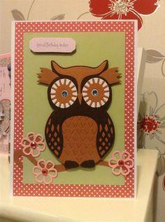 Owl Die Cut Card using the Xcut Owl Die Set