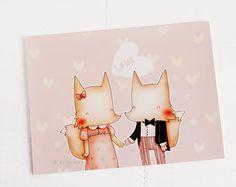 lovely foxes - 6x8 cute art print. $12.00, via Etsy.