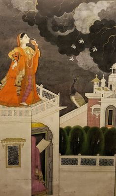 """India, Mandi, Now in the Lahore Museum, """"Virahini Nayika; she who is separated from her lover, suffering from anxiety and love longings. Pichwai Paintings, Mughal Paintings, Indian Art Paintings, Abstract Paintings, Indian Traditional Paintings, Traditional Art, Oriental, Mughal Miniature Paintings, Rajasthani Painting"""