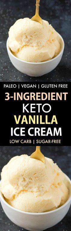 3-Ingredient Keto Vanilla Ice Cream (No Churn, Paleo, Vegan, Gluten Free)- Smooth, creamy and fool-proof vanilla ice cream- Blender made and ready in minutes! {v, gf, p recipe}- #keto #ketodessert #proteinicecream #ketoicecream   Recipe on thebigmansworld.com