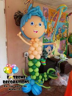 Miami - Bubble Guppies balloon sculpture. Bubble guppies birthday party decorations. Balloon decorations. Under the sea party. Mermaids. Extreme Decorations Miami Ph: 786-663-8198 www.extremedecorations.com extremedecorations@gmail.com