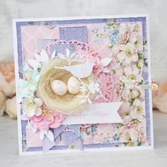Handmade card with a bird's nest. #easter , #spring #cardmaking #studio75