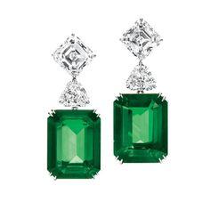 Harry Winston Emerald earrings (26.40 carats), with emerald and shield cut diamonds, platinum setting