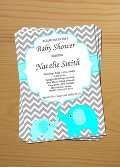 Elephant Baby Shower Invitation Baby Shower by diymyparty on Etsy, $10.00