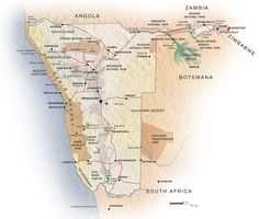 Interactive Namibia map: a physical map of Namibia showing roads, towns, national parks and areas of interest to visitors. National Parks Map, Paladin, Geography, Physics, Road Trip, Coast, Printables, Image, Southern