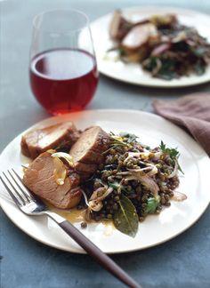 Roasted Pork Loin with Lentil Salad