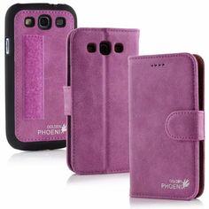 Golden Phoenix Samsung Galaxy S3 Handyhülle Royal Wallet-Case Wildleder violett