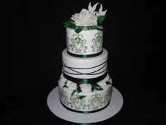 green cakes   Green Decorated Wedding Cake - Welcome to Cindys Cakes