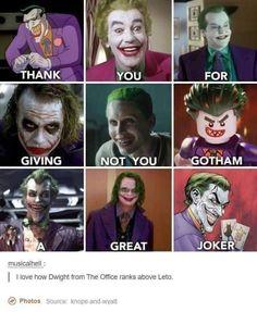 I like the new Joker but he hasn't been around long enough to earn his spot. but the Lego Batman can go sorry. Dc Memes, Marvel Memes, Marvel Dc Comics, Lego Batman Memes, Batman Humor, Funny Relatable Memes, Funny Jokes, Hilarious, Jocker Batman