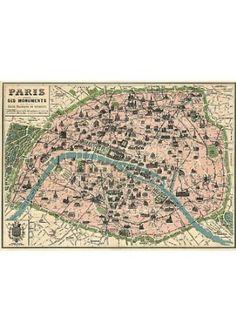 vintage paris monuments map