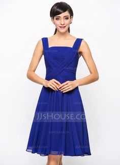[£ 76.00] A-Line/Princess Square Neckline Knee-Length Chiffon Bridesmaid Dress With Ruffle (007051841)