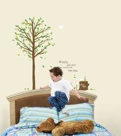 Inspirational Quote Tree Stump Forest Bird wall stickers