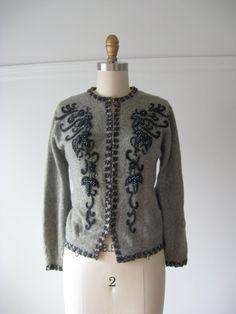 vintage beaded sweater / bead cardigan