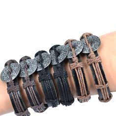 Jiayiqi 12 unids kompas náramek přívěsek tibetský slitina stříbra náramek konopí z pravé kůže náramek nejlepší dárek