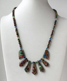 c5704de591ef Gemstones and Crystal Necklace- Sea Sediment Imperial Jasper Necklace-  Multi Color Statement Necklace- Bib Gemstone Necklace- Fan Necklace