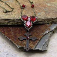 Ruby Rhinestone Medieval Cross Pendant Necklace Crystal Cross with Necklace Brass Medieval Cross Jewelry