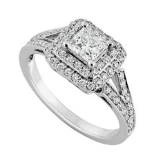 18ct white gold 0.85 carat princess cut diamond ring | Engagement rings | Weddings | Fraser Hart Jewellers