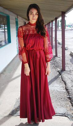 VTG 70s Victorian ROMANTIC Burgundy Lace Maxi Dress S