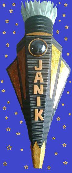Schultüten - Schultüte Rakete Schwarz / Orange Junge - ein Designerstück von Sannys-Basteltraum bei DaWanda