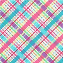 white plaid pattern fabric purple Michael Miller - Dots, Stripes, Checker - Fabric - kawaii shop modeS4u