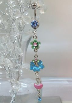 Bellybutton ring, chandelier belly ring w pink and blue flowers  and crystals 14ga | YOUniqueDZigns - Jewelry on ArtFire