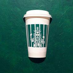 Seoul-based illustrator Soo Min Kim turns the classic Starbucks mermaid into various other fantastic characters by redrawing her on original Starbucks paper cups. Starbucks Cup Art, Starbucks Logo, Coffee Cup Art, Creative Food Art, Scandinavian Folk Art, Doodle Art, Doodles, Drawings, Artist