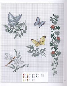 Butterflies dragonfly and a floral border  xx cross stitch pattern