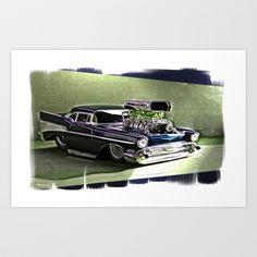 57 Blown Chevy Art Print by elkart51