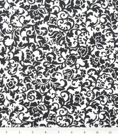 Keepsake Calico™ Cotton Fabric-Black Scroll Damask - Something like this for the Laundry Room curtains C Is For Cat, Calico Fabric, White Damask, Joann Fabrics, Fabric Decor, Quilting Projects, Diorama, Cotton Fabric, Quilts
