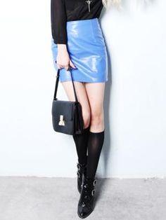 Sexy Pure Color Bud  PU Skirt