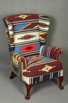 Handwoven Vintage Wool Kilim Wingback Armchair   Patchwork