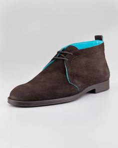 Dunraven Suede Chukka, Brown/Turquoise by Jimmy Choo at Neiman Marcus.