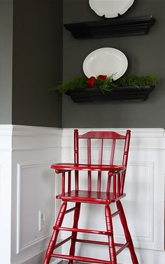 Have no idea about highchair safety and such but love this vintagey wood in red