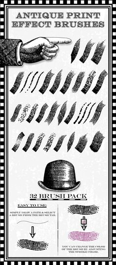 Antique Print Effect Brushes for Adobe Illustrator #design #ai Download: http://graphicriver.net/item/antique-print-effect-brushes/6870773?ref=ksioks