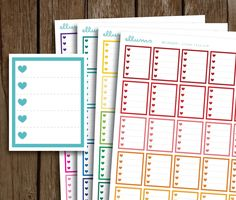 Heart Checklist Box Stickers | PRINTABLE Instant Download | Planner Stickers | To Do List Boxes | EC Checklist Sticker | Erin Condren ECLP by ellums on Etsy