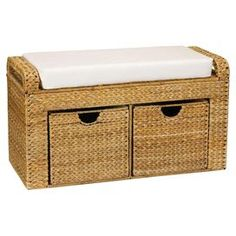 "Hand-woven banana leaf storage bench with 2 basket drawers and a removable seat cushion.  Product: Storage bench    Construction Material: Fabric and banana leaf    Color: Natural and white    Features:  Hand-woven    Removable seat cushion    Two drawers  Dimensions: 19"" H x 34"" W x 14.5"" D"