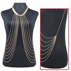 Gold Sexy Body Chain Women Necklaces Pendants Tassel Alloy Punk Long  Necklace 2015 New Designer Female Fashion Jewelry XL-375 f0abdd175b8