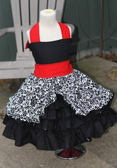 Damask dress, ruffle dress, father daughter dance dress, twirl dress, birthday dress, party dress on Etsy, $85.00