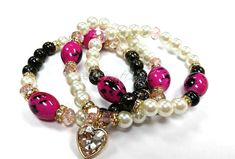 Heart Beaded Bracelet Set Heart Charm Bracelet by RandRsWristCandy